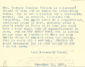 Letter from DuBois to Johnson. 1927. Web.